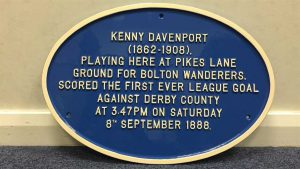 The blue plaque commemorating Kenny Davenport's historic goal