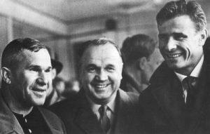 Russian goalkeepers Alexei Khomich, Valentin Granatkin and Lev Yashin