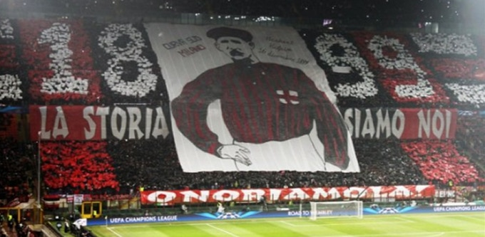 Herbert Kilpin banner displayed at the San Siro