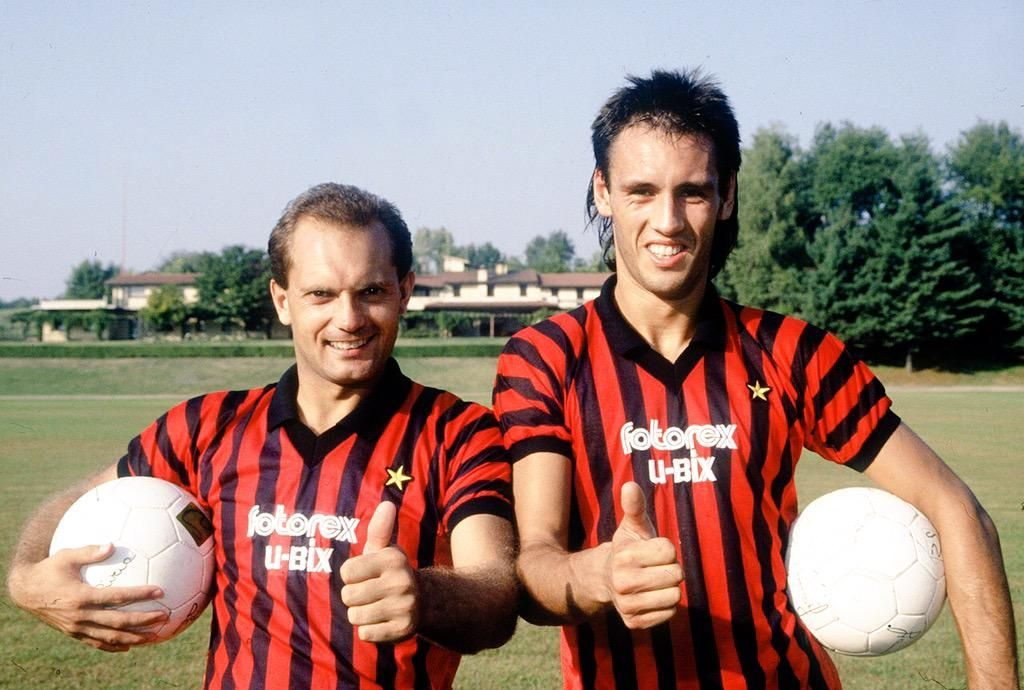 Ray Wilkins and Mark Hateley on arrival at Milan in 1984