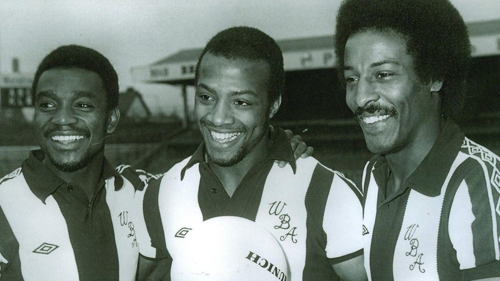 West Brom's Laurie Cunningham, Cyrille Regis and Brendan Batson, 1978