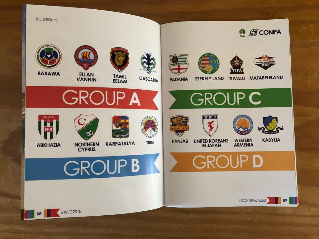 ConIFA World Cup 2018 programme