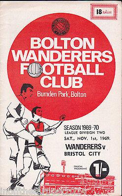 Bolton Wanderers v Bristol City match programme, 1969-70