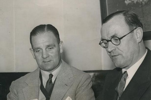 Jesse Carver (L) as chairman W. Erle Shanks announces his resignation from Coventry City, December 1955