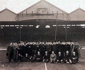 Dignitaries gathered for the opening of Old Trafford, 1910