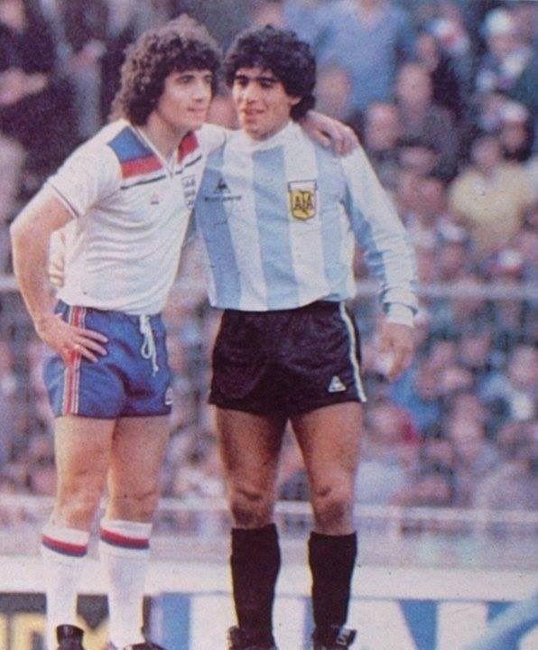 Kevin Keegan and Diego Maradona, England v Argentina 1980