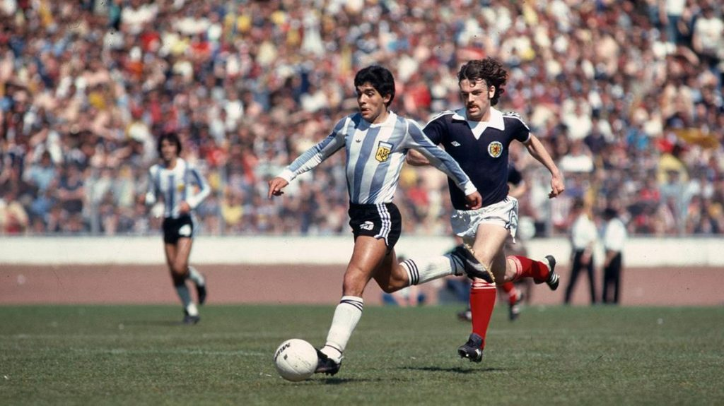 Diego Maradona (with John Wark), Scotland v Argentina 1979