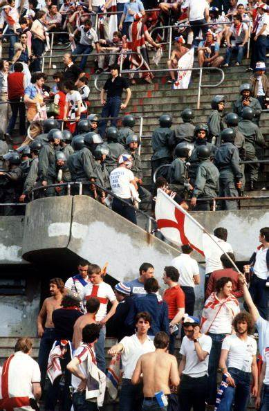 England fans at the match against Belgium, Euro 1980