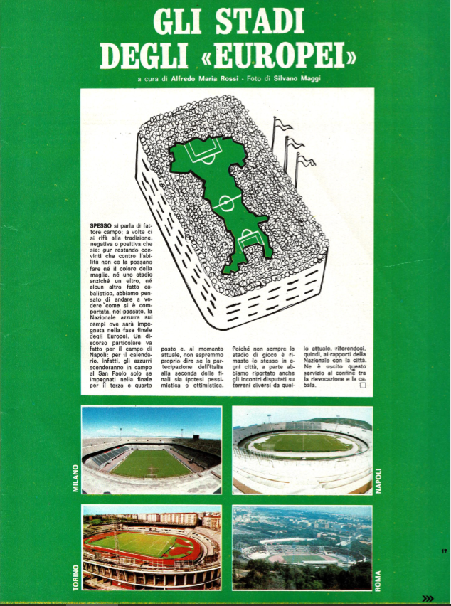 Guerin Sportivo magazine Euro 1980 stadium guide