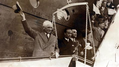 Jules Rimet arriving in Montevideo for the first World Cup finals
