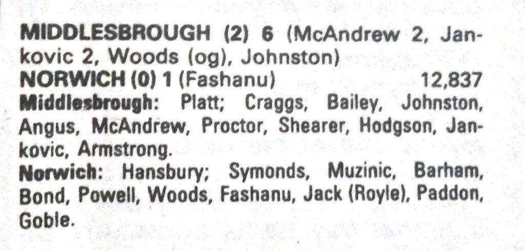 Middlesbrough v Norwich City match details, Shoot! Magazine 1980