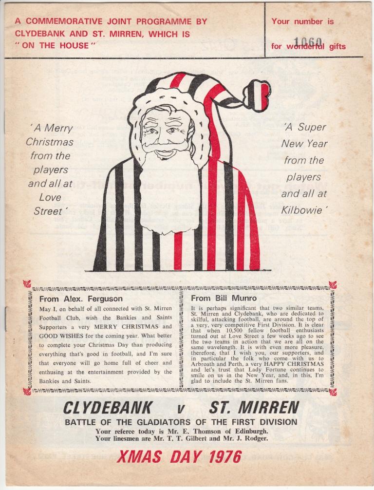 Clydebank St Mirren programme 76-77