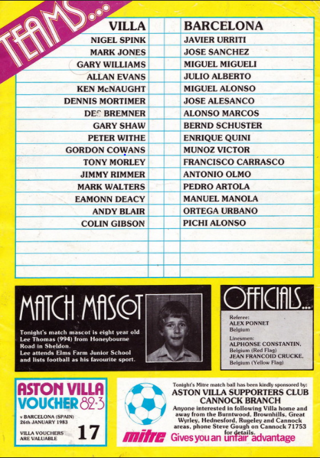 Aston Villa v Barcelona match programme, January 1983