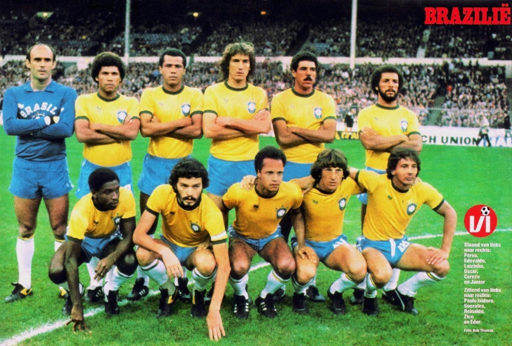 Brazil line-up v England at Wembley, 1981