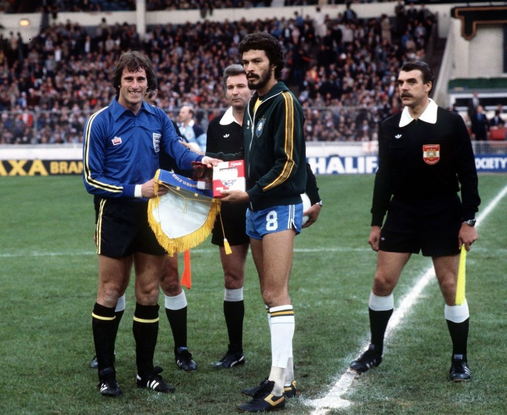 Captains Ray Clemence and Sócrates, England v Brazil 1981