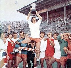 Blackpool captain John Craven and team-mates