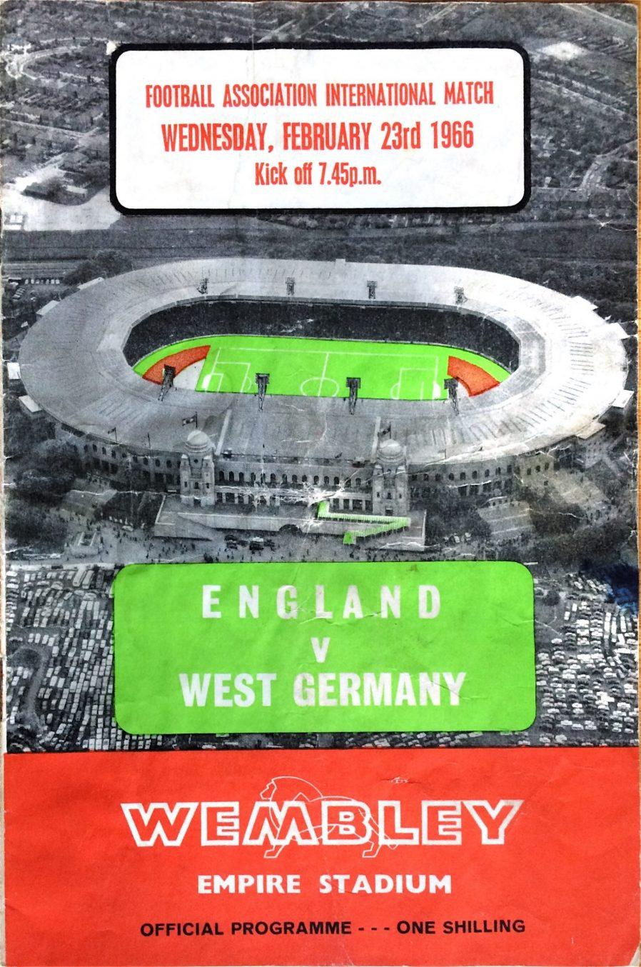 England v West Germany, match programme