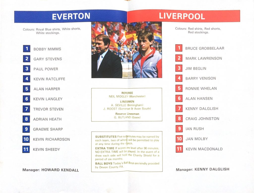 Everton and Liverpool line-ups, 1986 Charity Shield match programme