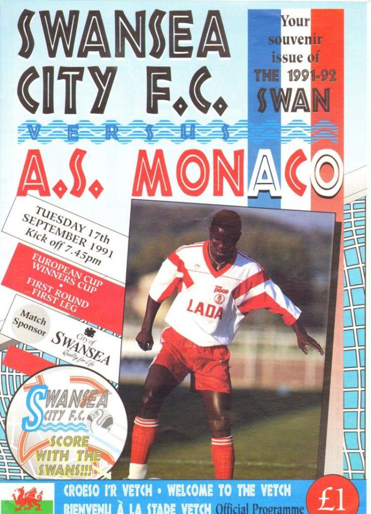 Swansea-Monaco 1991 match programme