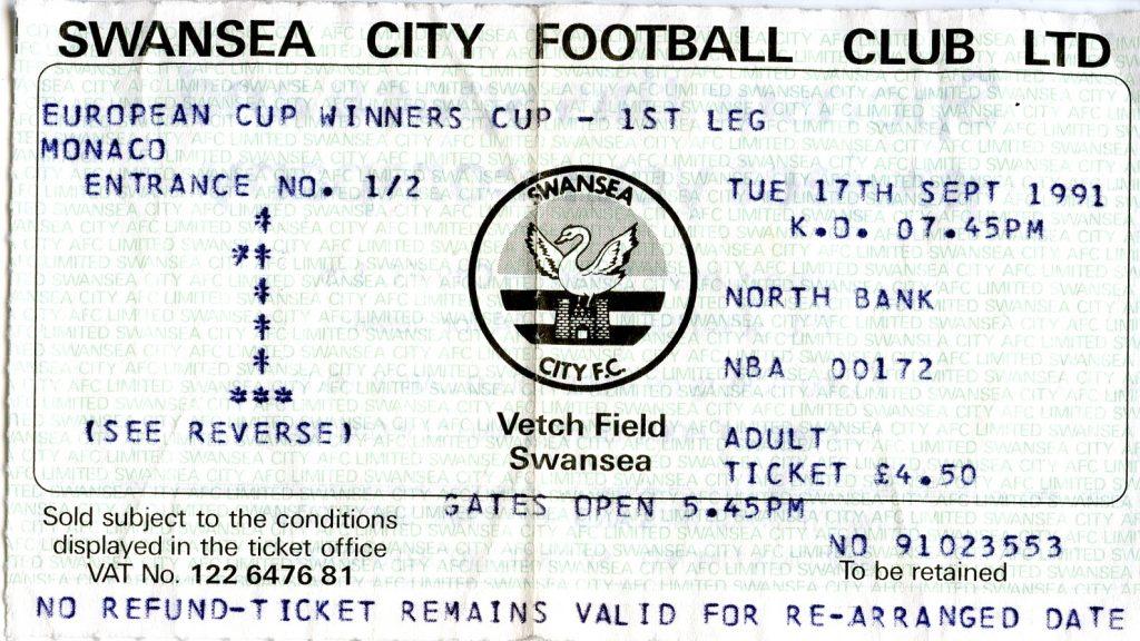 Swansea-Monaco 1991 match ticket