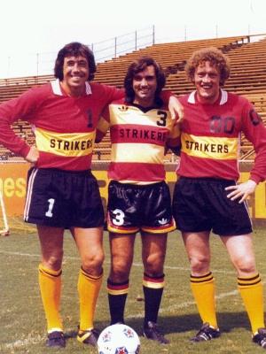 Gordon Banks, George Best, and Ian Turner of Fort Lauderdale Strikers
